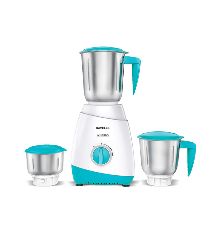 havells aspro 500 watt mixer grinder with 3 stainless steel jar