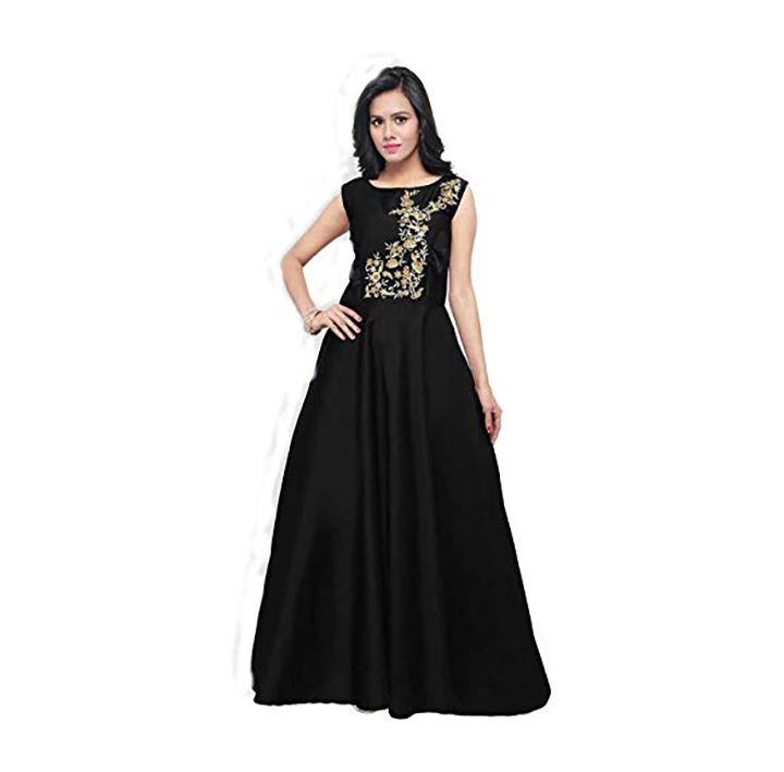 Ram krupa creation Women's Georgette Heavy Embroidered Semi Stitched Anarkali Gown