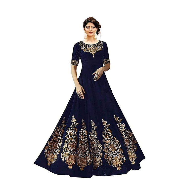 Sojitra Enterprise woman's Taffeta Silk Anarkali Gown
