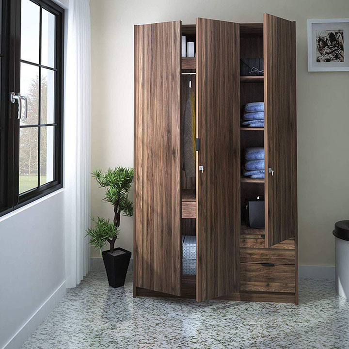 @home by nilkamal avery 3 door wardrobe (modi wenge)