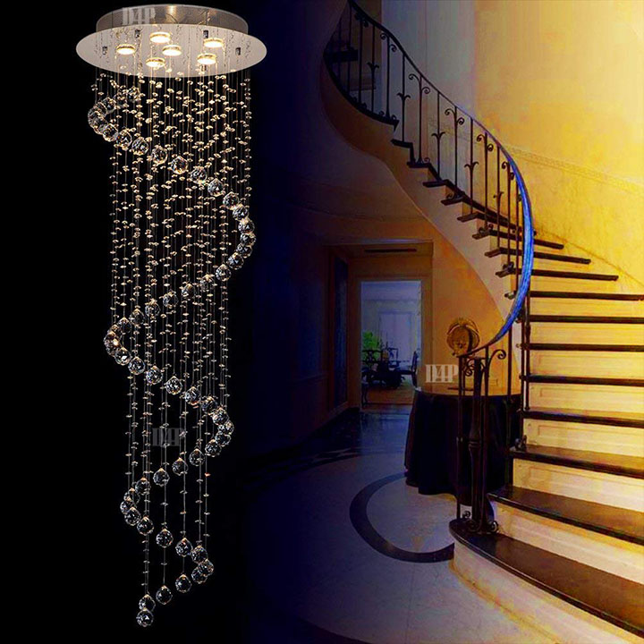 Discount4product Spiral Glass Raindrop Chandelier
