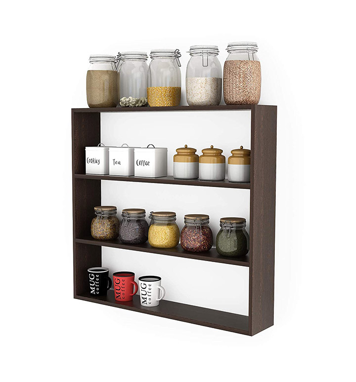bluewud jasden engineered wood multipurpose kitchen wall shelf rack (wenge)