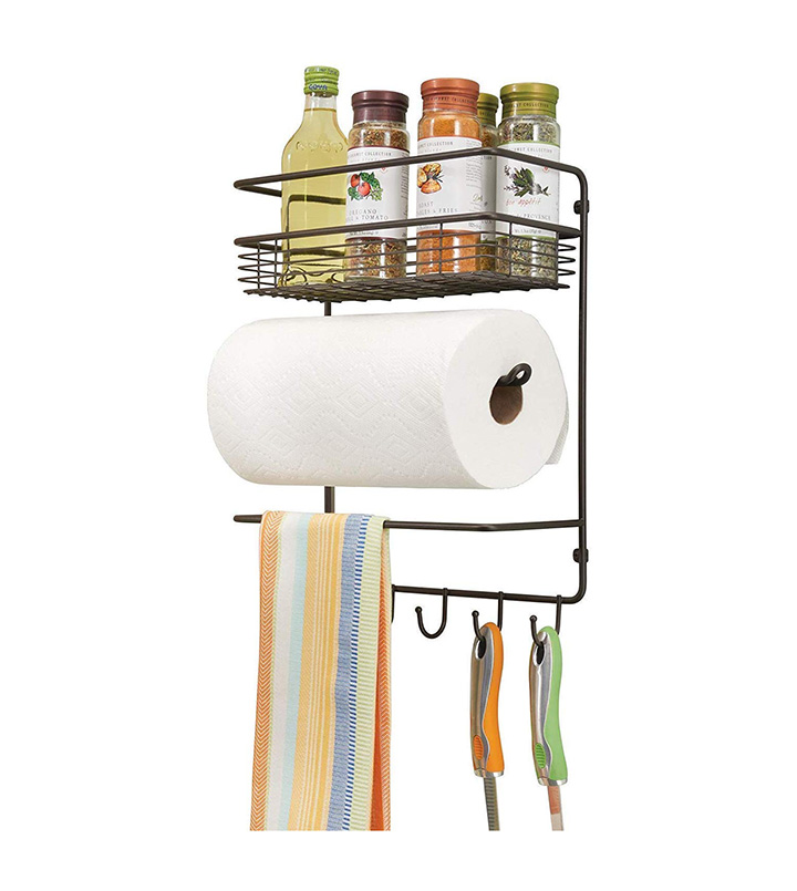 decorlay iron wall mount paper towel holder with storage shelf