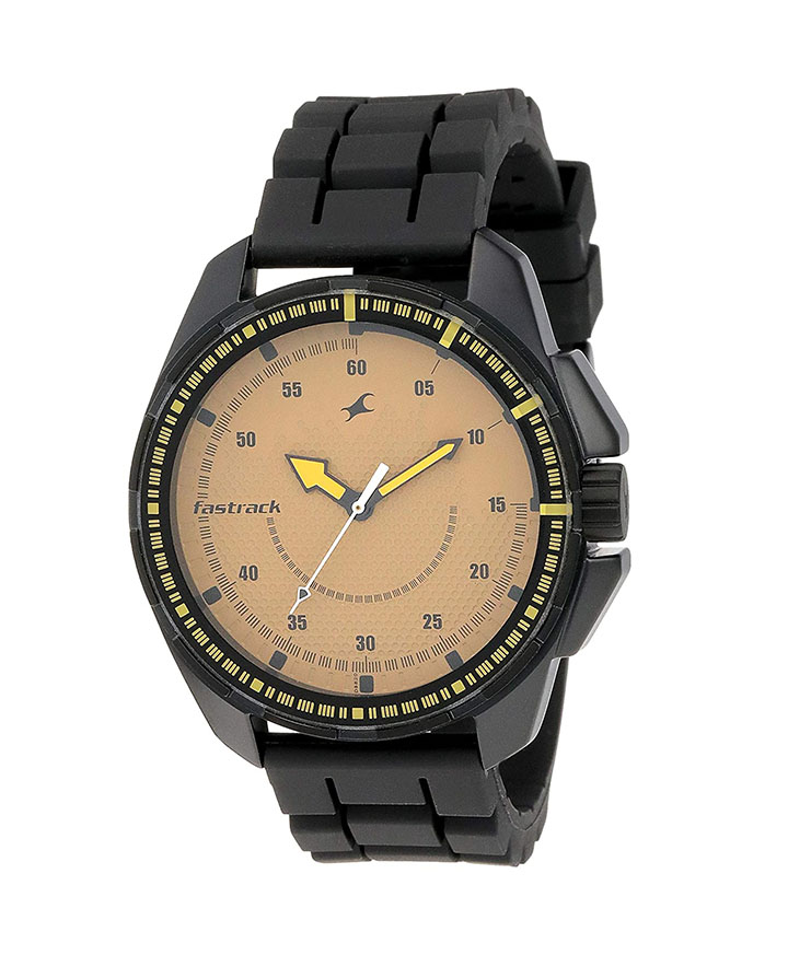 fastrack commando analog brown dial men's watch nm3084np01  nl3084np01