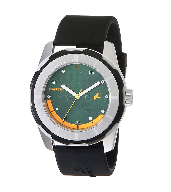 fastrack economy 2013 analog green dial men's watch