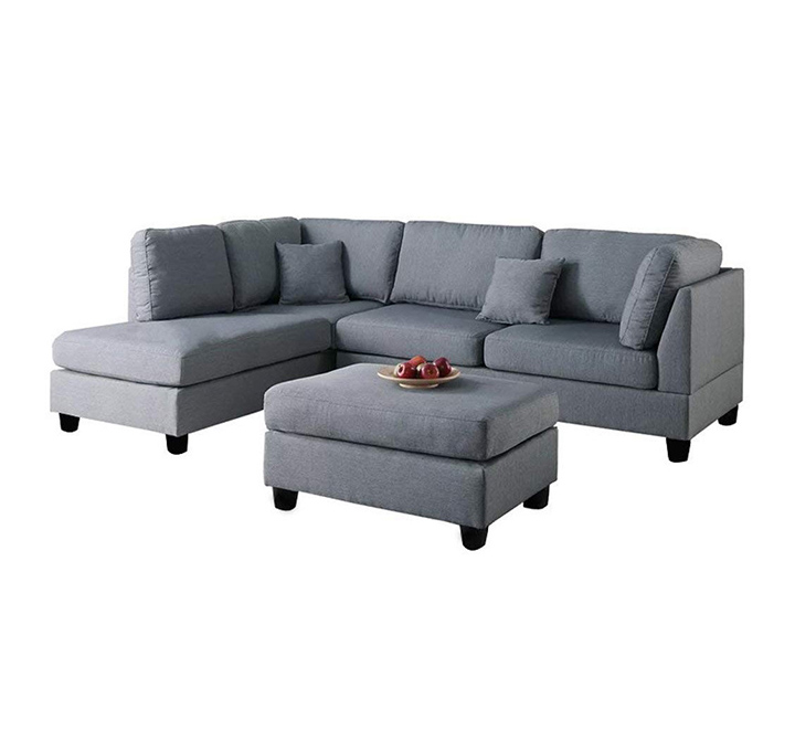 furny brenna 5 seater l shape lhs sofa (grey)