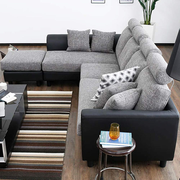 furny winchester 6 seater l-shape interchangeable sofa
