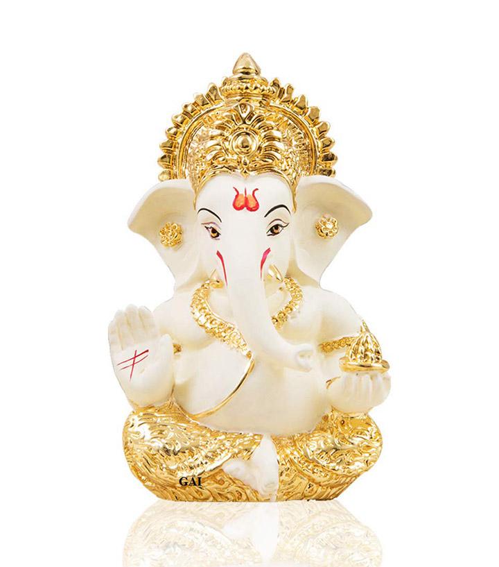 gold art india gold plated terracotta ganesha idol
