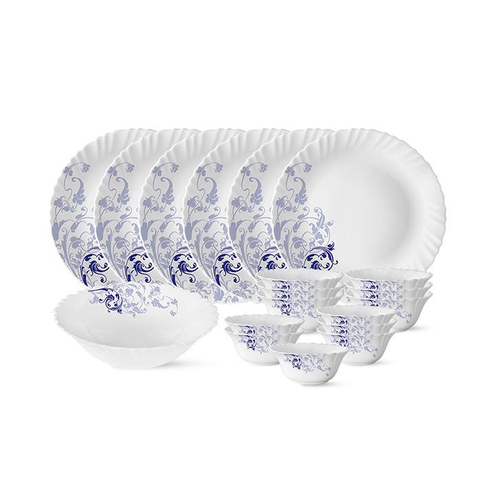 larah by borosil blue eve silk series opalware dinner set 19 pieces blue eve silk
