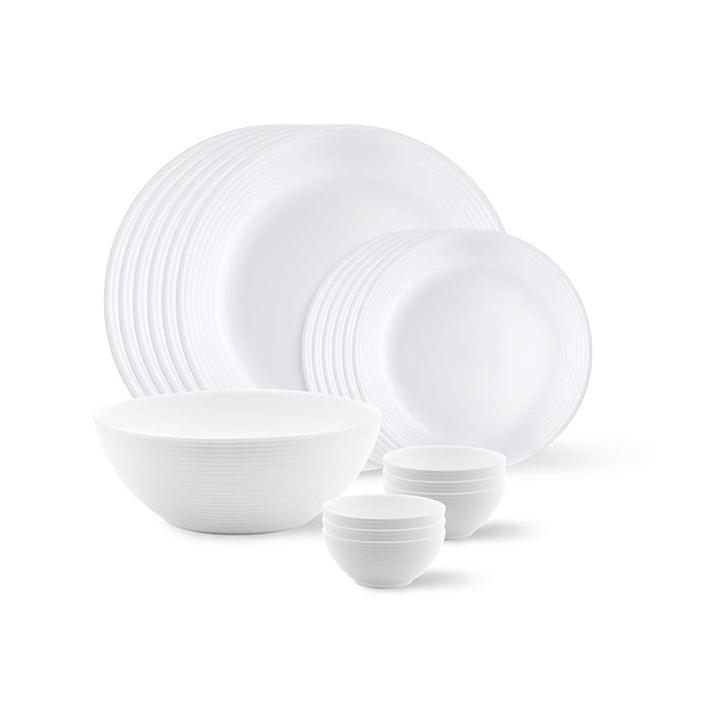 larah by borosil orbit series opalware dinner set 19 pcs white