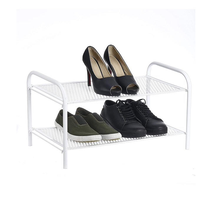 nhr premium collapsible foldable metal 2 tier shoe rack