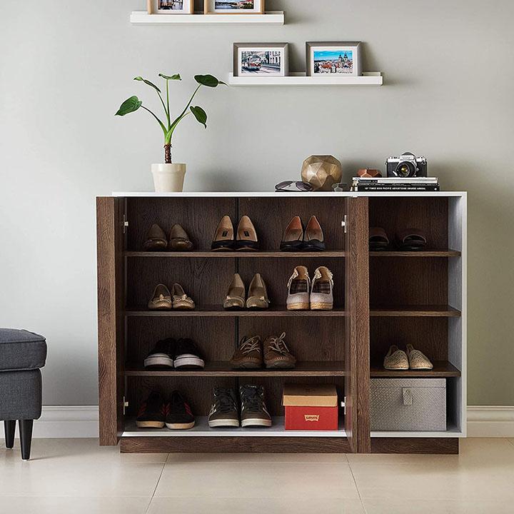 pengu wooden shoe rack