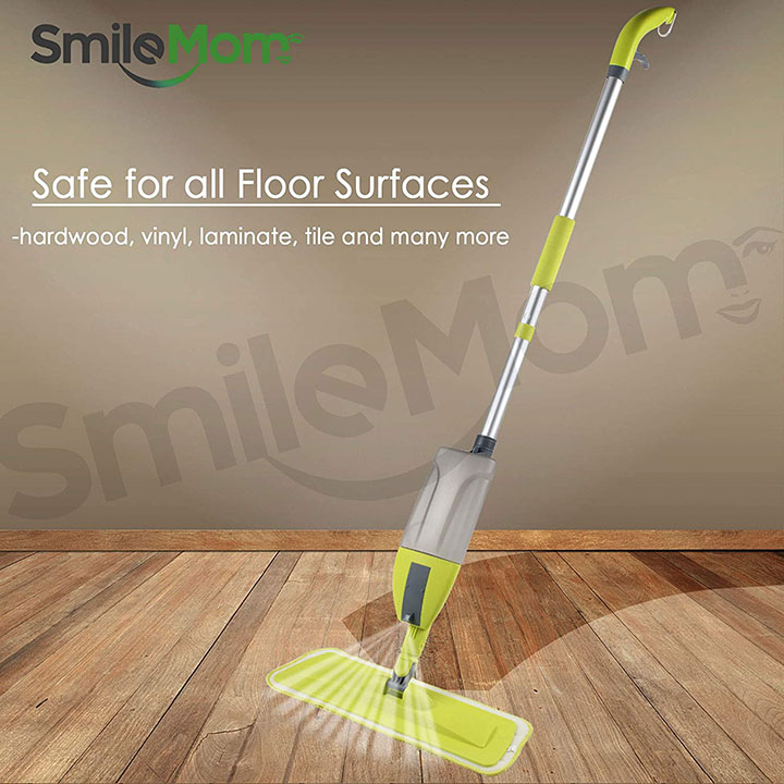 smile mom aluminium spray mop set with microfiber washable pad