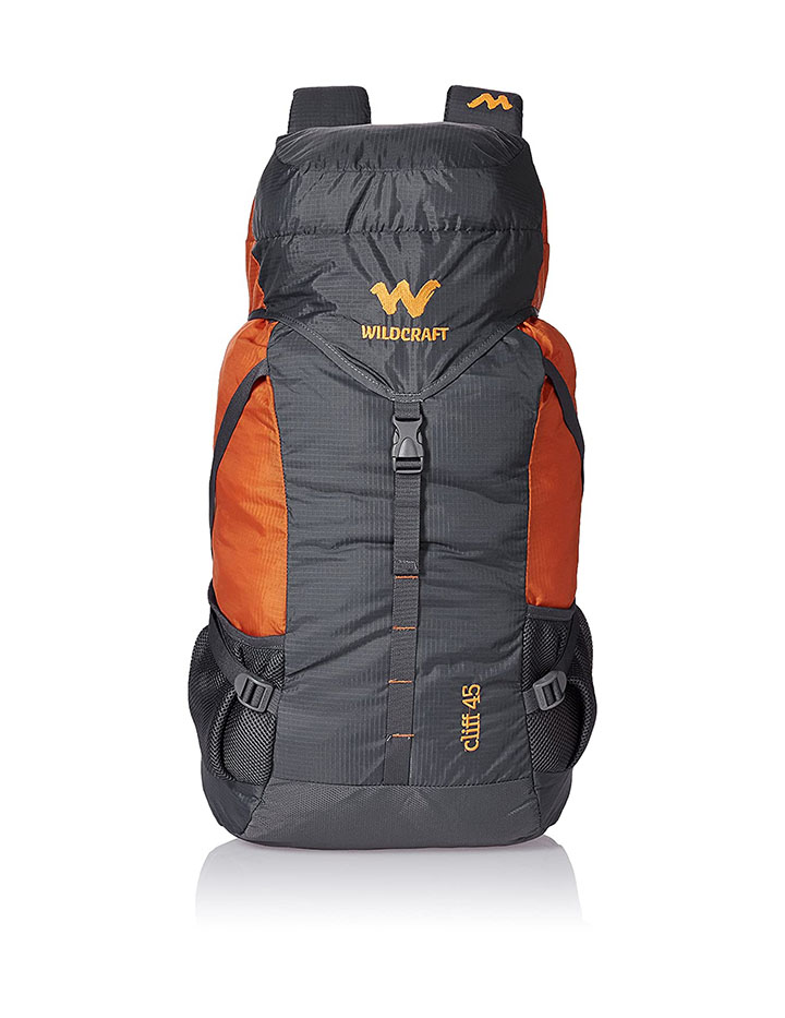 wildcraft 45 ltrs grey and orange rucksack
