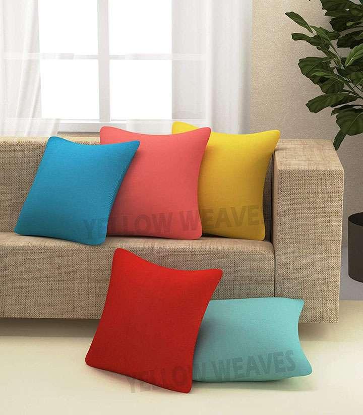 yellow weaves cushion covers