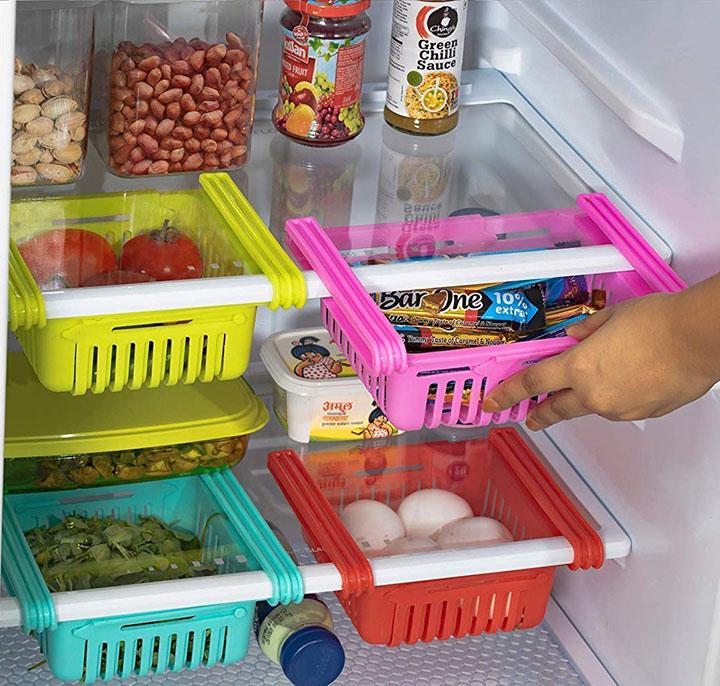 OWLSTONE EXIM LLP 4 Pcs Expandable Adjustable Fridge Storage Basket Under Shelf Fridge Organiser Rack