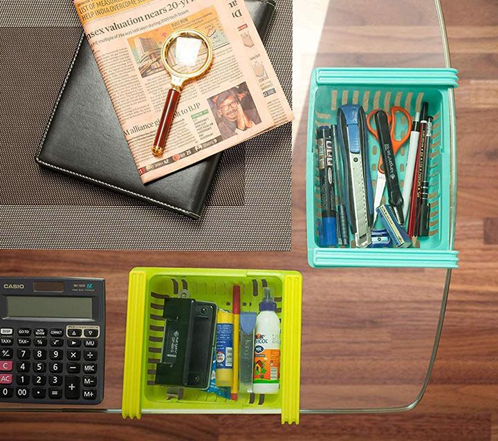 bigbuzz plastic unbreakable expandable adjustable fridge storage basket under shelf
