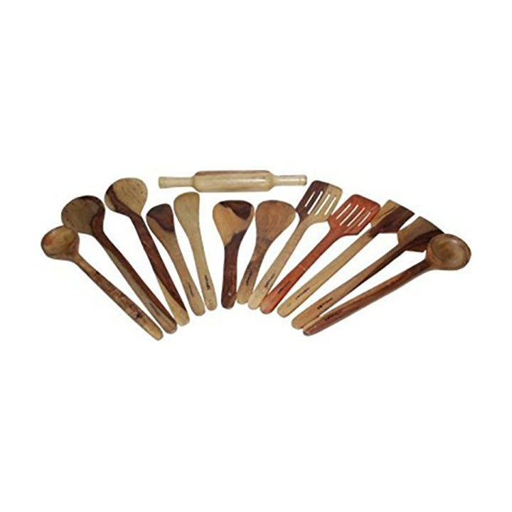 craftatoz natural serving and cooking spoon set