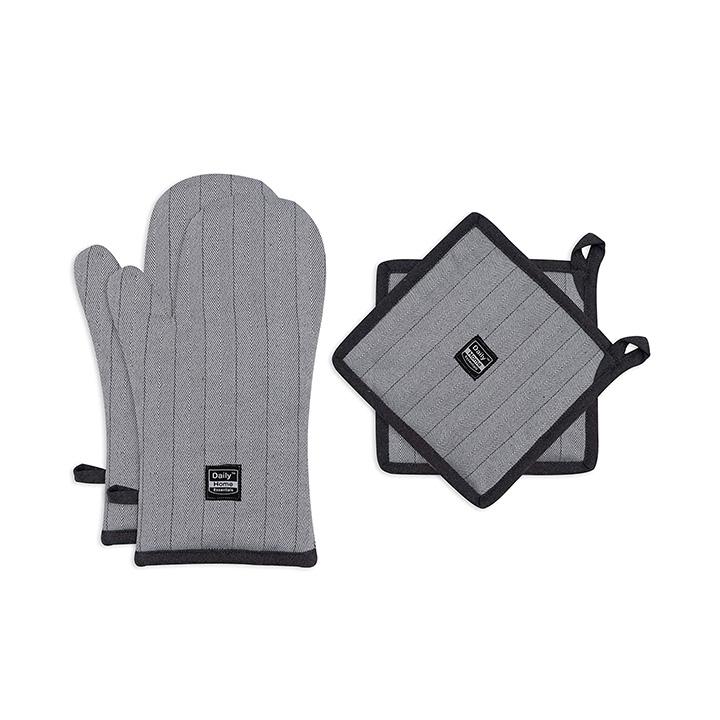 daily home essentials kitchen oven glove & pot holder set