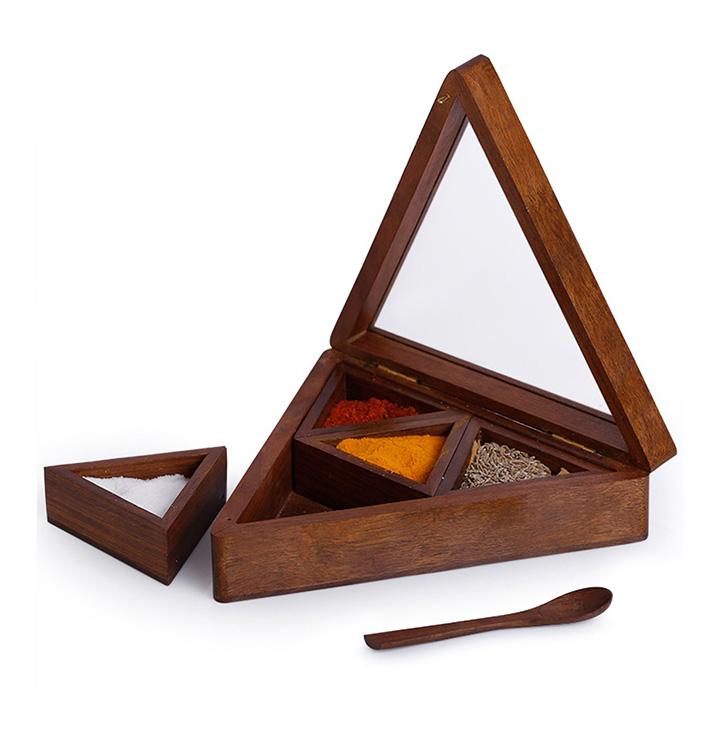 exclusivelane pyramid table top wooden masala box