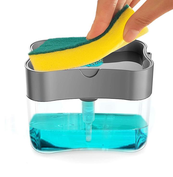 exseson plastic 2 in 1 liquid soap dispenser pump with sponge holder