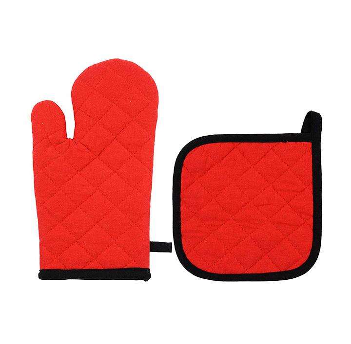 home fiber cotton microwave glove and pot holder set
