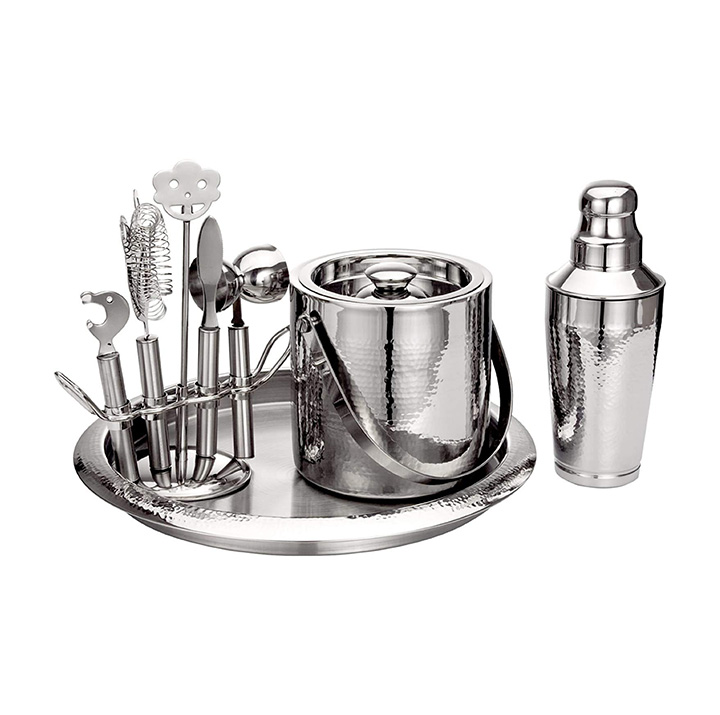 nine piece hammered finish stainless steel bar set by topshelf
