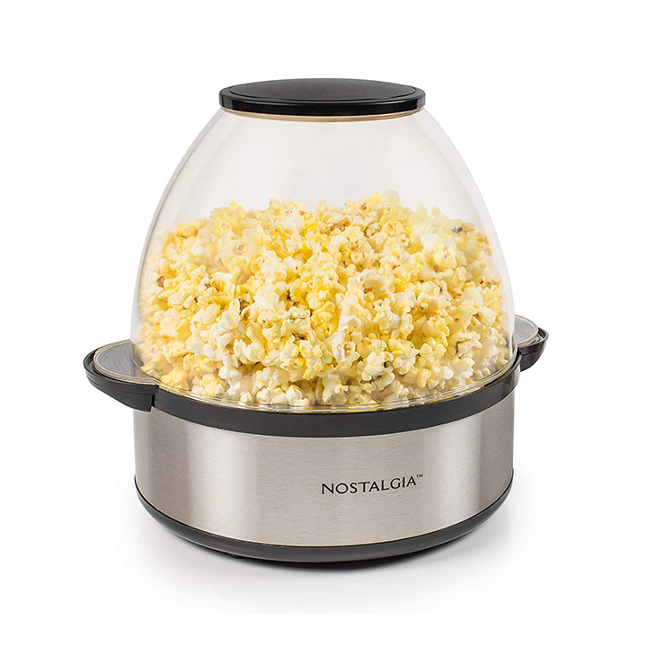 nostalgia black stainless steel stirring popcorn maker
