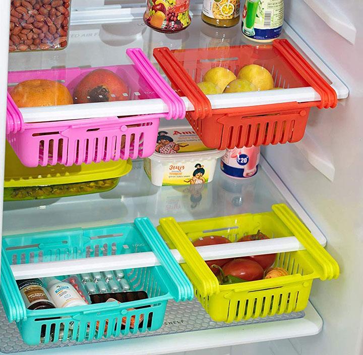 peiroks 4 pcs expandable adjustable fridge storage basket under shelf fridge organise rack