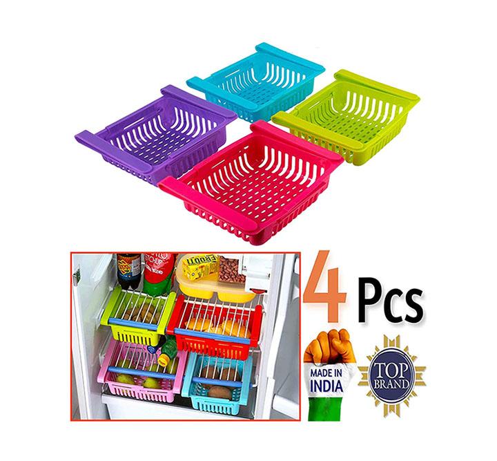 rd collection 4 pcs expandable adjustable fridge storage basket under shelf fridge organise rack