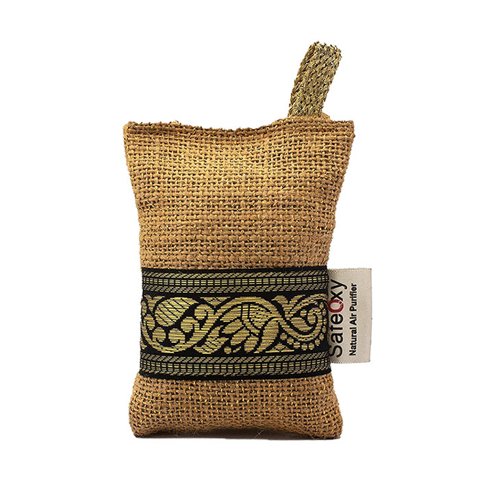 safeoxy charcoal activated natural air purifier jute bag