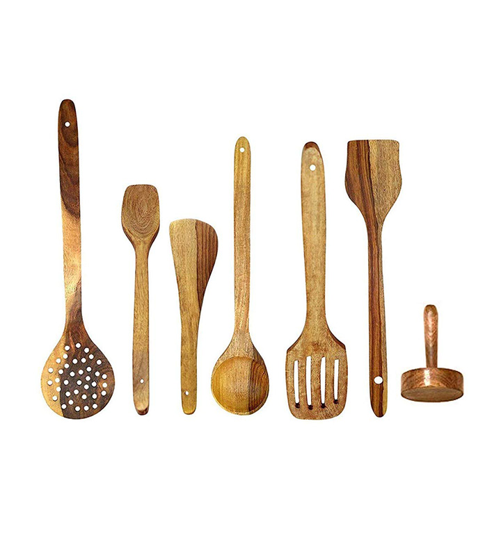 wow kitchen store handmade wooden (rose wood) serving and cooking spoon set