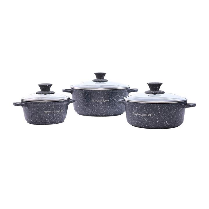 wonderchef granite die cast casserole set