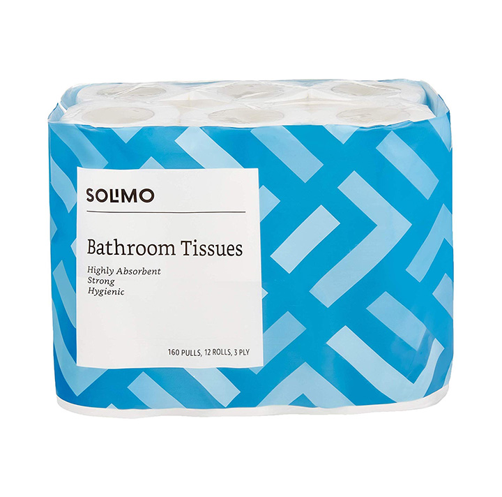 Amazon Brand - Solimo 3 Ply Toilet Paper/Tissue Roll