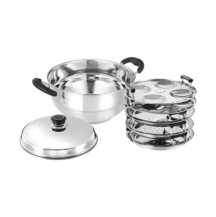 amazon brand - solimo stainless steel induction bottom multi kadai with plates