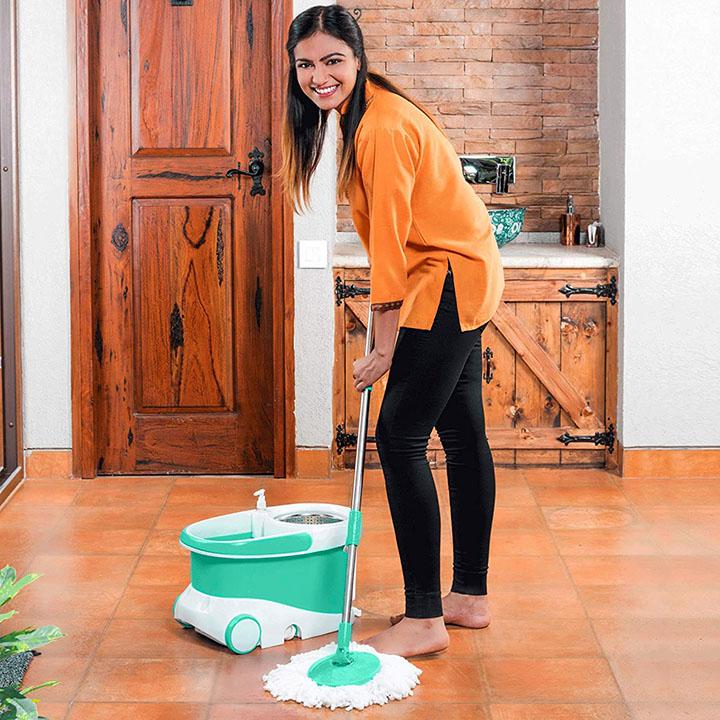 bathla ultra clean plus - heavy duty microfiber spin mop