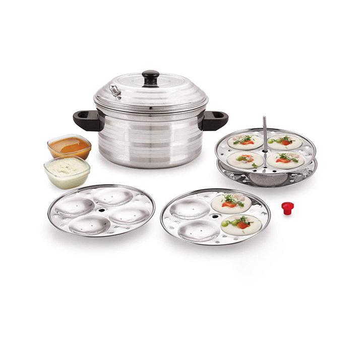 bms lifestyle stainless steel 4-plates idly maker cooker