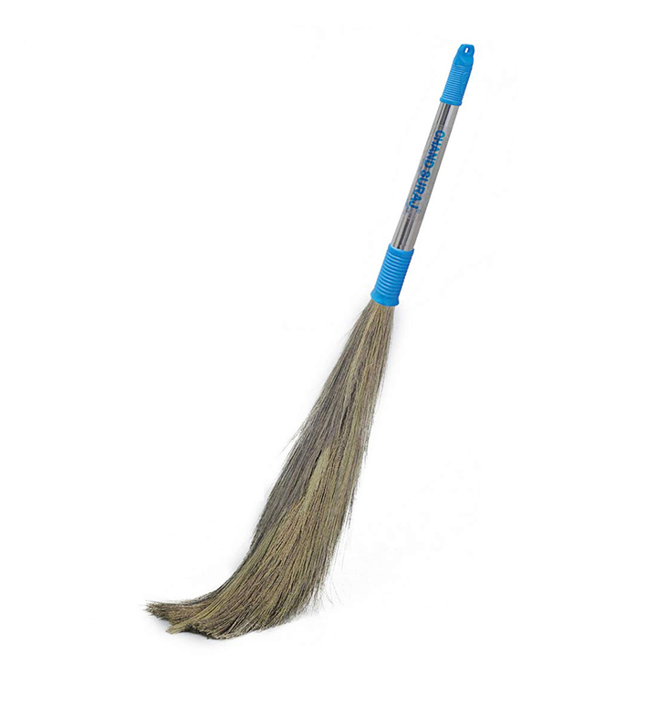 chand suraj ® stainless steel stella eco friendly soft grass broom stick for floor cleaning