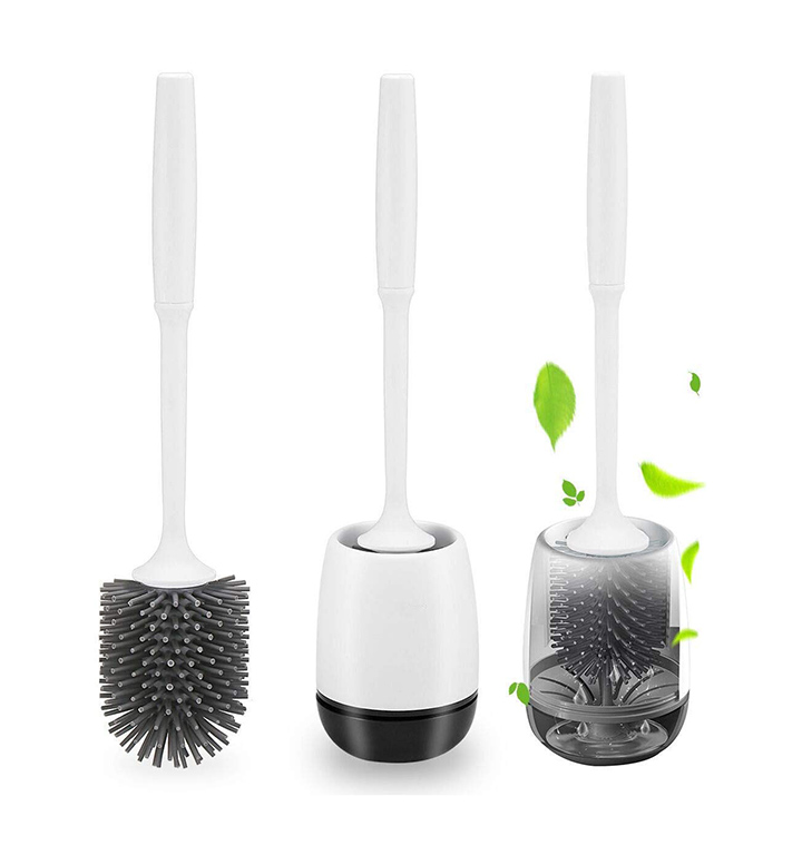 silicone toilet brush with holder set