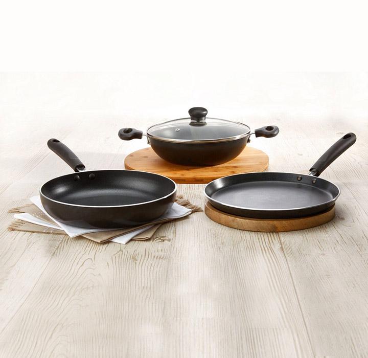 solimo non-stick 3- piece kitchen set