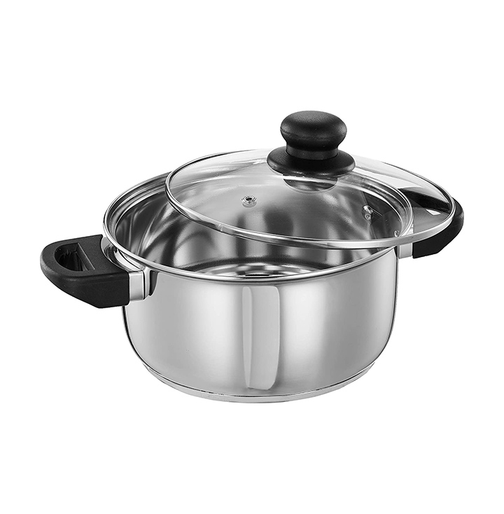 Amazon Brand - Solimo Stainless Steel Induction Bottom Dutch Oven with Glass Lid