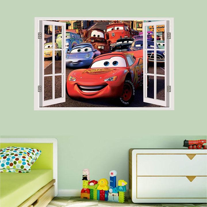 asmi collections pvc disney cars window illusion wall stickers