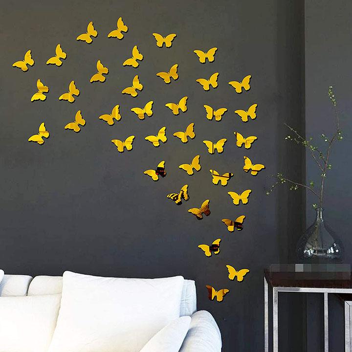 bikri kendra® - 40 butterfly golden - 3d acrylic mirror wall stickers