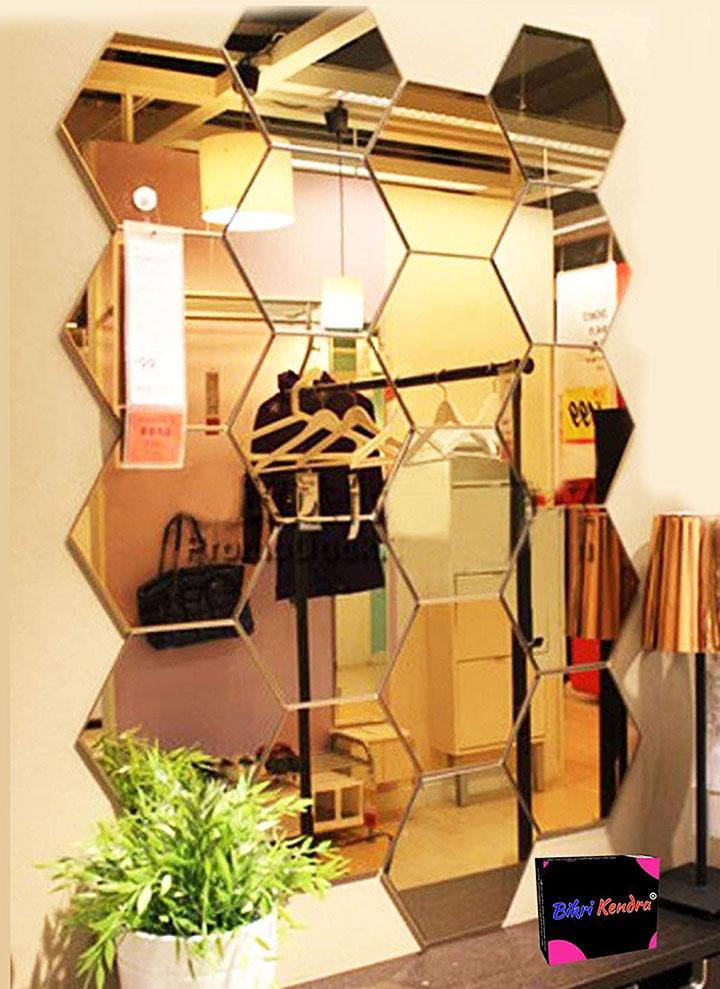 bikri kendra® - hexagon 20 golden mirror - 3d acrylic mirror wall stickers for home & office