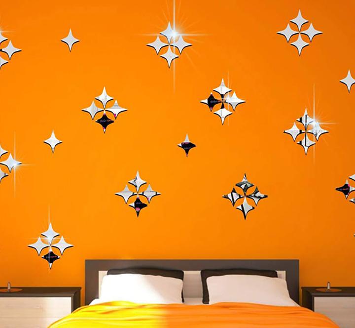 bikri kendra - 50 starsilver art rk50h - 3d acrylic decorative mirror sticker for wall