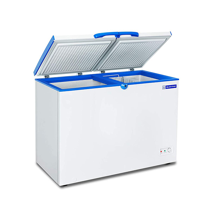 blue star chf300 double door deep freezer (284 l white)