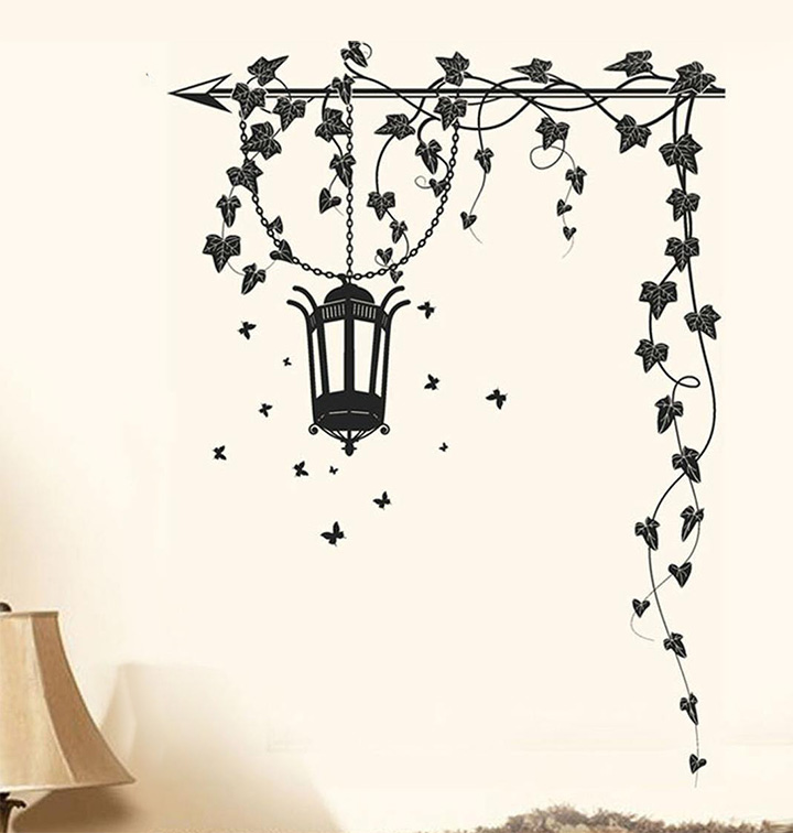 decals design 5785 stickerskart wall stickers hanging lamp and vines black