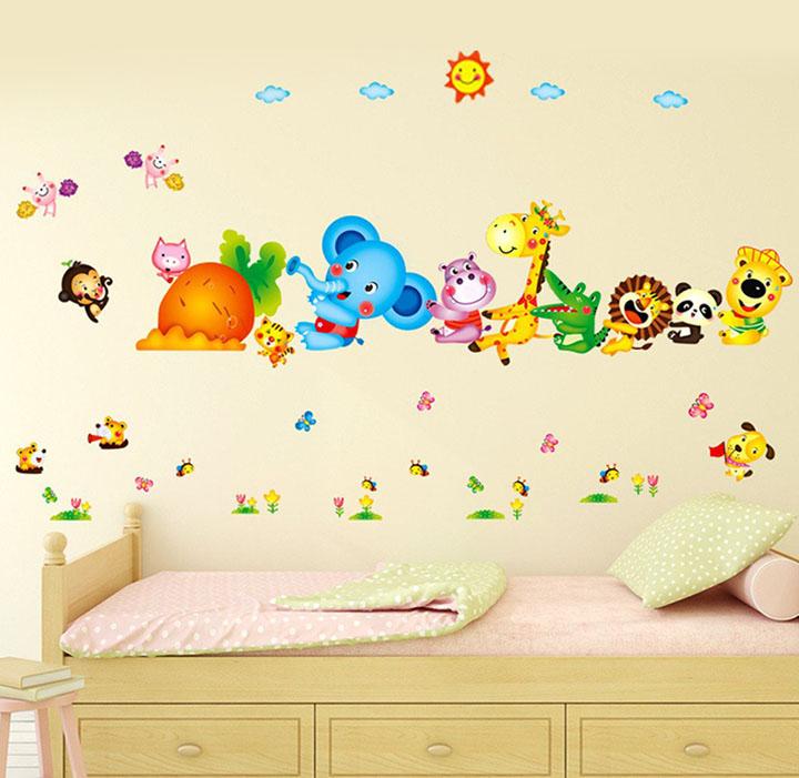 decals design 6900048 stickerskart wall stickers kids room happy cute elephant monkey cartoon animals for baby room nursery design jungle theme vinyl