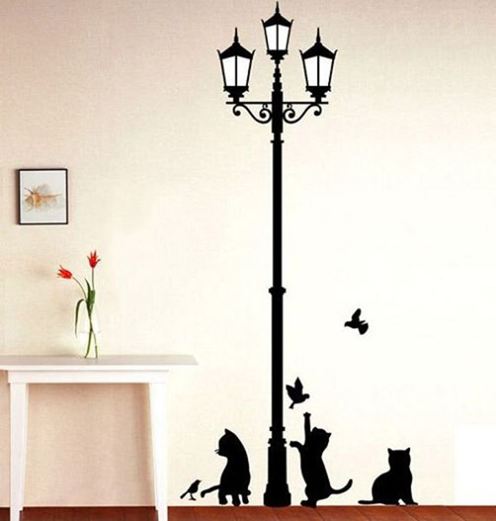 decals design 'ancient lamp and cats' wall sticker