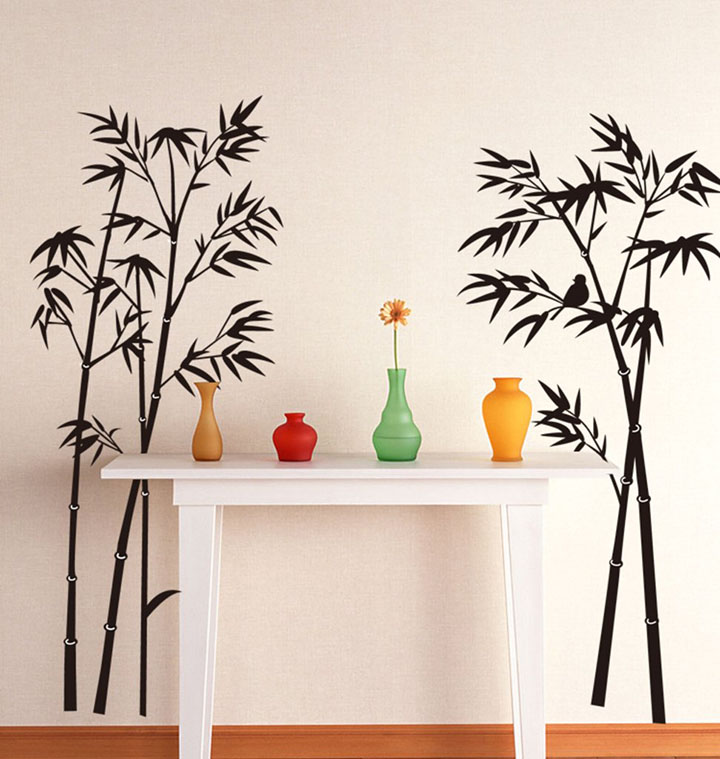 decals design 'beautiful bamboo tree black' wall sticker